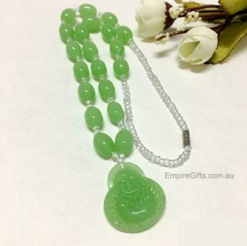 Buddha Beads Necklace Imitation Jade Green Beads