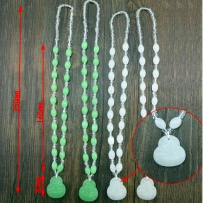 Buddha Beads Necklace Imitation Jade Green Beads