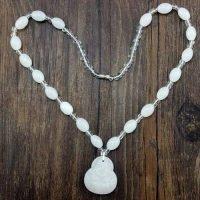Buddha Beads Necklace Imitation Jade White Beads