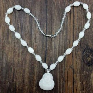 Buddha Beads Necklace Imitation Jade White Beads