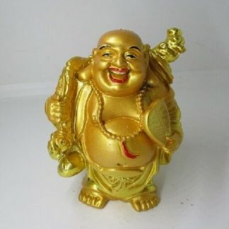Buddha with Ruji and Tablet Bright Gold Laughing Buddha