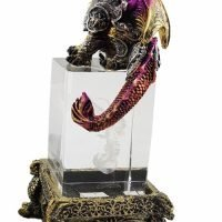 Dragon Statue on Crystal Base LED Ornament Statue Figurine Sculpture Red