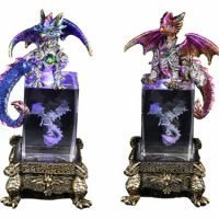 1 x Dragon Statue on Crystal Cube Light Up Blue