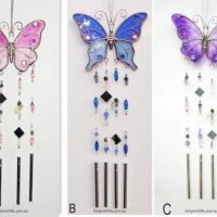 Glass Butterfly with Gems Hanging Mobile Wind Chime