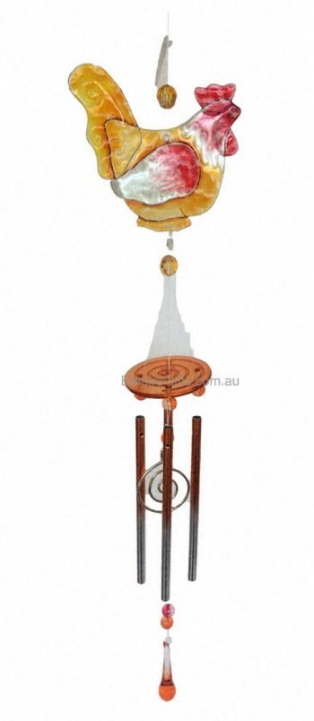 Rooster Chicken Farm Wind Chime Glass Garden Hanging Yellow-2