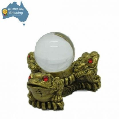 Three Money Frogs with Crystal Ball Wealth Feng Shui Enhancer