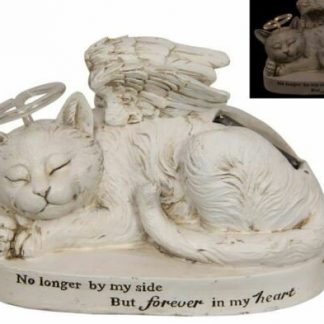1 x Cat Memorial Plaque Light Up Solar Halo Cat Garden Statue