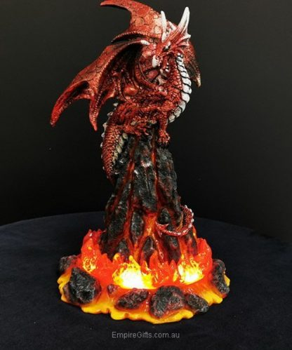 1 x Dragon Statue On Lava Volcano Lights Up with USB Dragon Collectable