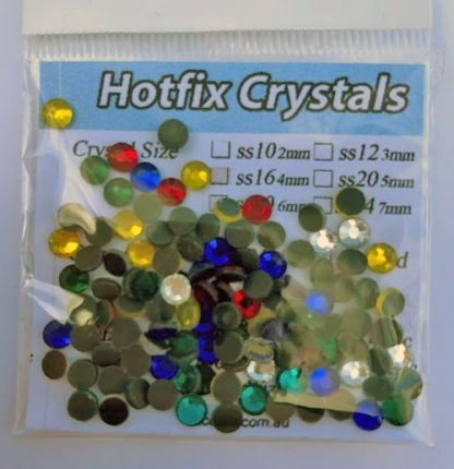 100pc Iron On Rhinestone Crystals SS16 4mm Assorted Mix