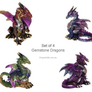 4pc Dragon Gemstone Metallic Figurine Collectable SET of 4