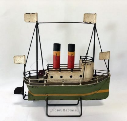 Boat Tin Mini Stack Liner Ship green Nautical Collectable