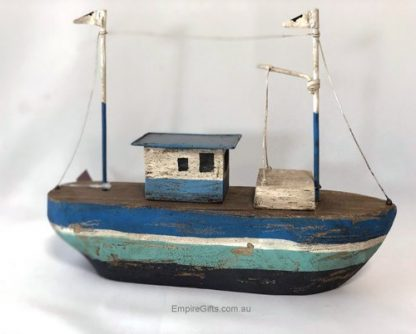 Nautical Wooden Boat Beach Theme Blue Hull