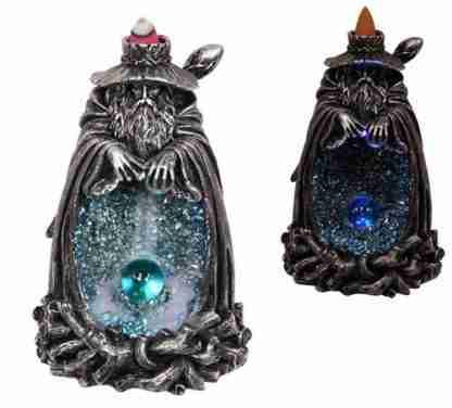 Silver Wizard Crystal Cave Design Backflow Incense Cone Burner