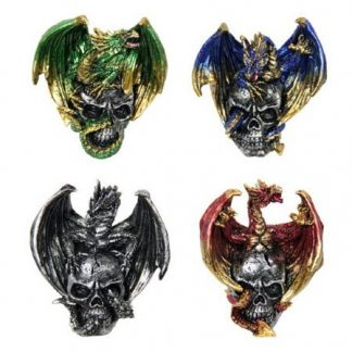 4pc Dragon on Skull Statue Metallic Figurine Collectable SET of 4