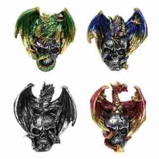 4pc Dragon on Skull Statue Metallic Figurine Collectable SET of 4