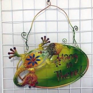 "1pc Gecko Lizard Wall Art ""Hang in There"" Sign Metal Green"