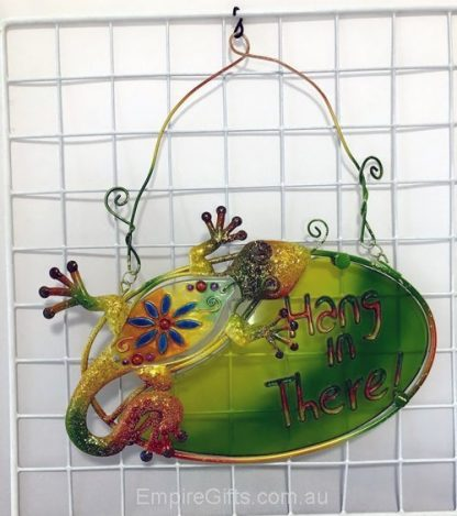 """1pc Gecko Lizard Wall Art """"Hang in There"""" Sign Metal Green"""