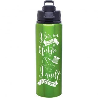 quilt water bottle apple green