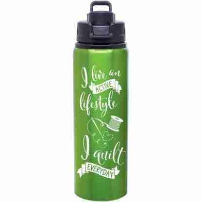 quilt water bottle apple green