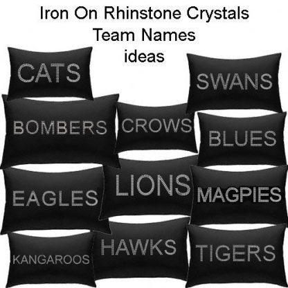 team names iron on crystal rhinestone ideas