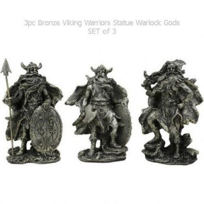 3pc Bronze Viking Warriors Statue Warlock Gods Figurines SET of 3