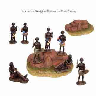 Australian Aboriginal Statues on Rock Display Collectable Set