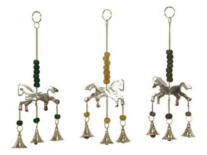 Horse with Triple Brass Bells & Beads Wind Chime