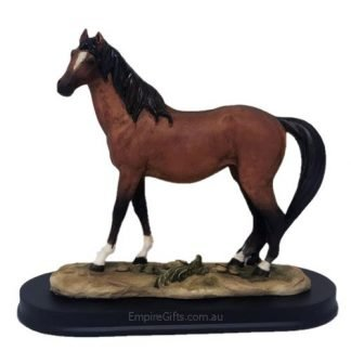 Horse Statue Chestnut Horse Figurine on Stand