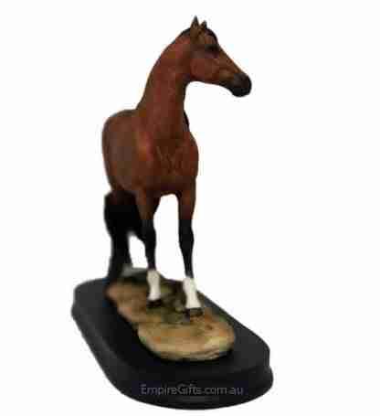 Horse Statue Chestnut Horse Figurine on Stand