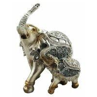 Elephant Mother & Baby Statue Silver Mirror Art Feng Shui Enhancer