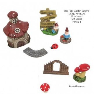 Fairy Garden Gnome Village Miniature Ornaments 8pc Gift Boxed