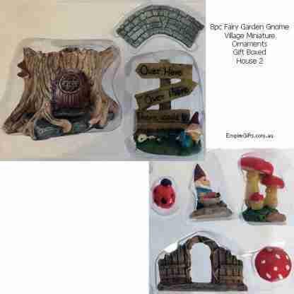 Fairy Garden Gnome Village Miniature Ornaments 8pc Gift Boxed