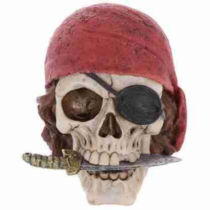 Pirate Skull Head with Red Bandana Figurine Statue Skeleton Pirate