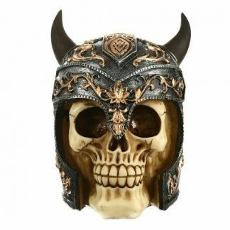 Viking Skull Head Figurine Statue Skeleton Steampunk Gothic