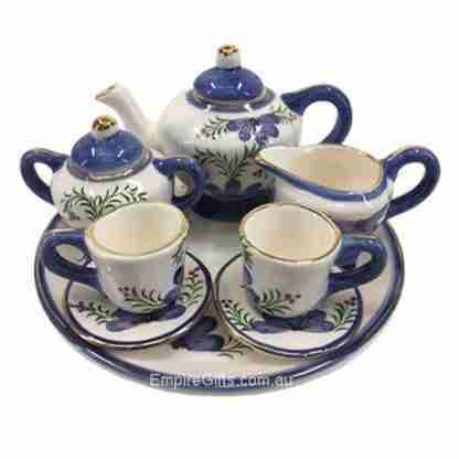 10pc Mini Teaset Blue Flowers Ceramic Teapot Collectable