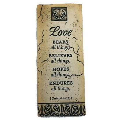 1 x Love bears all things... Plaque Hanging Wall Art
