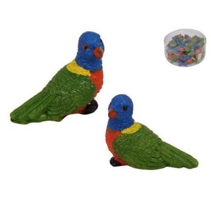 18pc Miniature Rainbow Lorikeet Parrot Fairy Garden Cake Decoration-