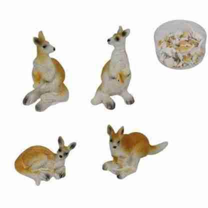 24pc Miniature Kangaroo Figurine Fairy Garden Statue Cake Decoration