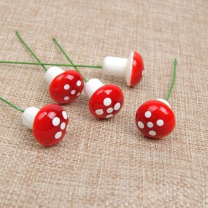 36pc Miniature Mushroom on Stick Fairy Garden Cake Decoration