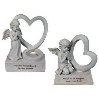 1pc Angel Cherub Statue Memorial Heart Plaque Forever remembered...