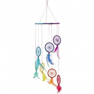Chakra Dream Catcher Rainbow Spiral 6pc Hanging Mobile