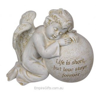 "1pc Cherub Angel Inspirational Statue Ornament ""Life is Short..."" Verse Garden Sculpture"