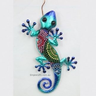 1 x Gecko Lizard Tribal Dot Art Metal Wall Art Garden Hanging Blue