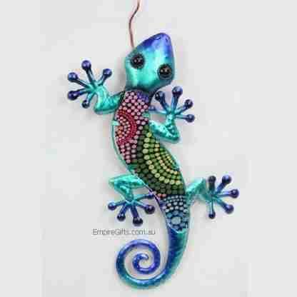1 x Gecko Lizard Tribal Dot Art Metal Wall Art Garden Hanging Blue