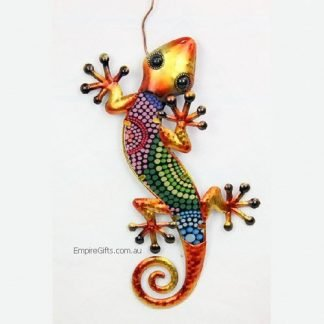 Gecko Lizard Tribal Dot Art Metal Garden Wall Hanging