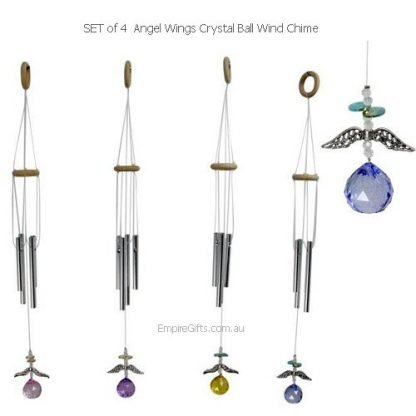 4 x Angel Wings with Crystal Ball Suncatcher & Wind Chime Set