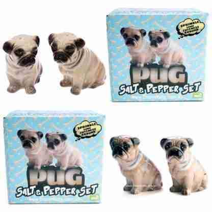 Pug Dog Salt and Pepper Set Ceramic
