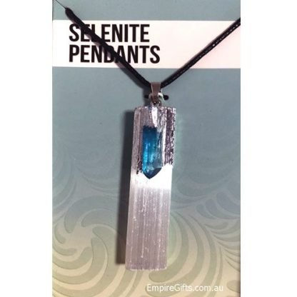 Selenite & Gemstone Healing Pendant Reiki Protection Pendant