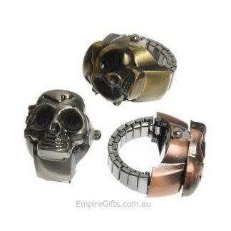 Skull Ring Watch Unisex Retro Finger Ring Skull Vintage Clamshell Watch