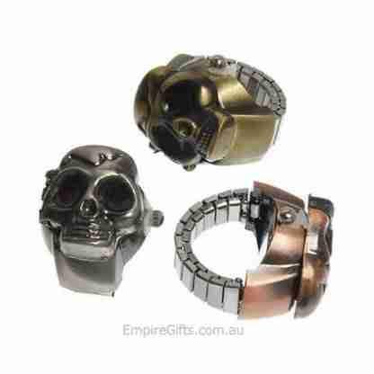 Skull Ring Watch Unisex Retro Finger Ring Skull Vintage Clamshell Watch